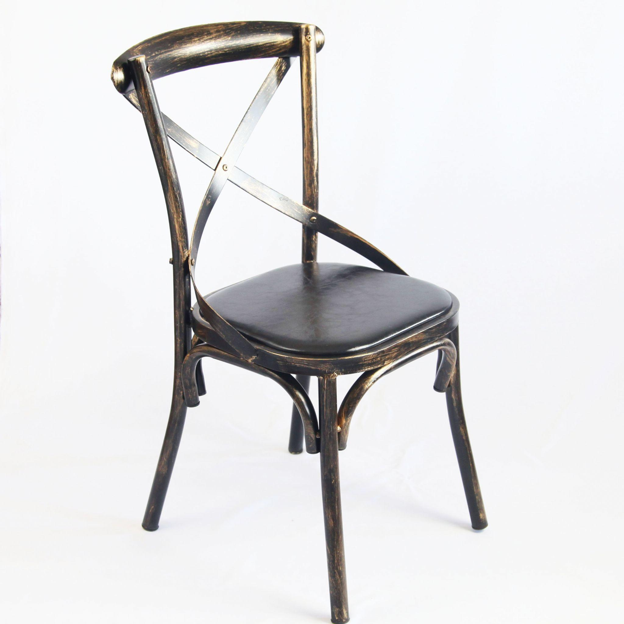Tolix Xavier Cross Backed Chairs Black Gold Brushed Matte