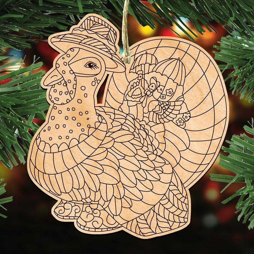 Tom Turkey Diy Coloring Decorative Holiday Ornament