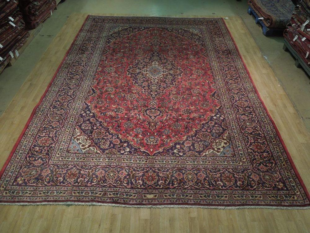 Tomato Red Kashan Rug Persian Antique Reproduction