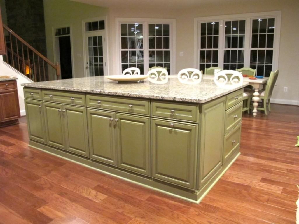 Top Kitchen White Painted Cabinets Green Island
