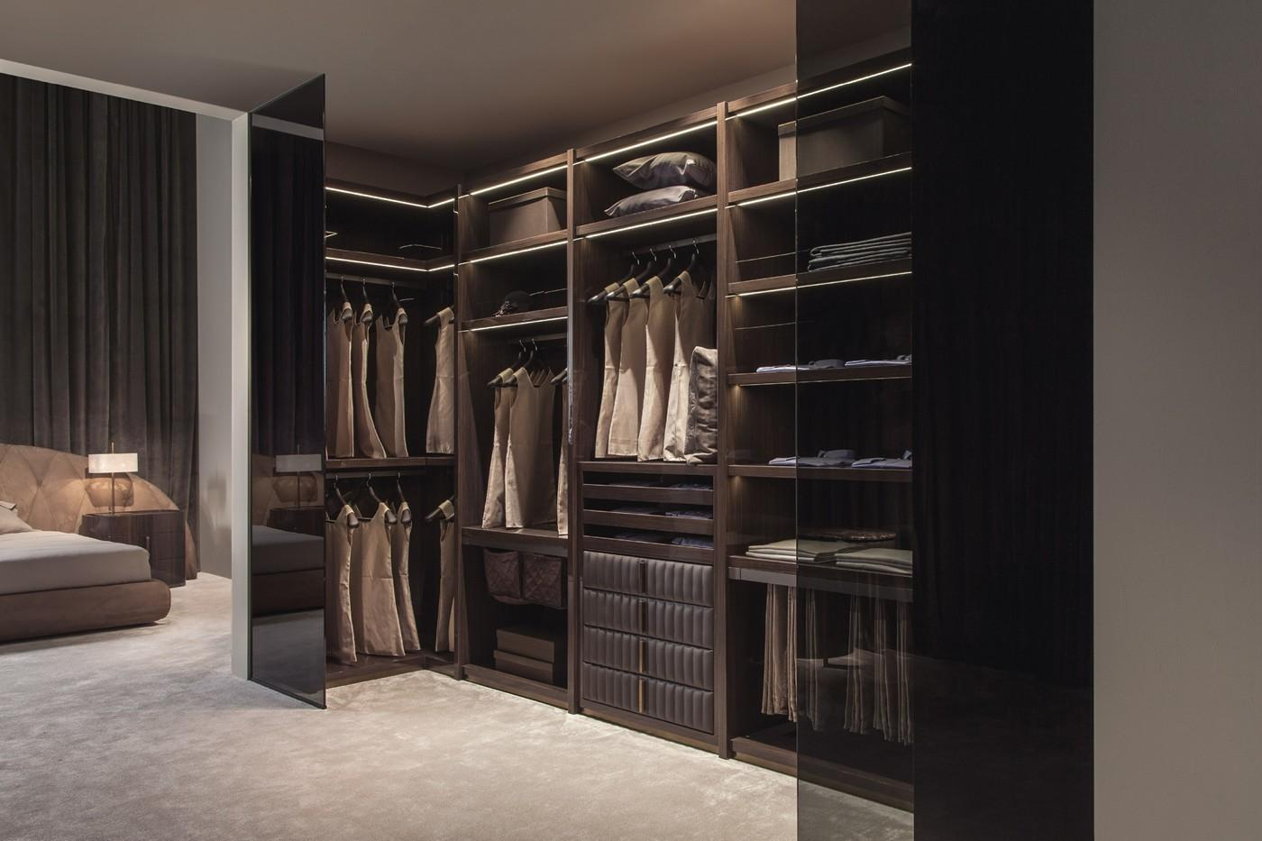 Touched Gloss Canaletto Walnut Leather Walk Closet
