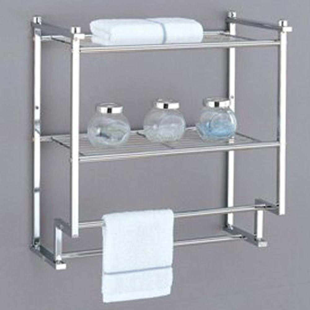 Towel Rack Bathroom Shelf Organizer Wall Mounted Over