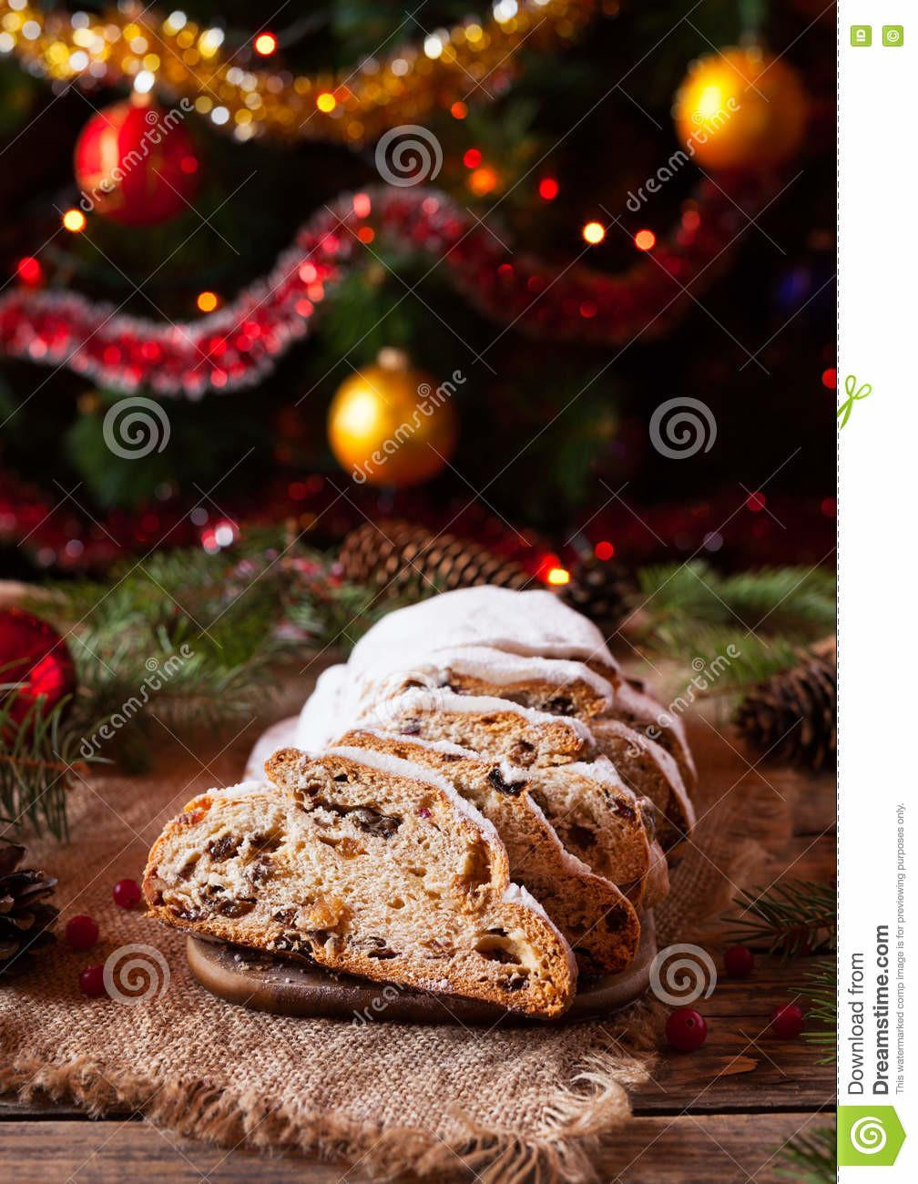 Traditional German Christmas Cake Stollen Rustic