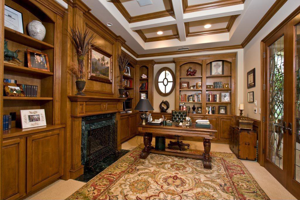 Traditional Home Office High Ceiling Built