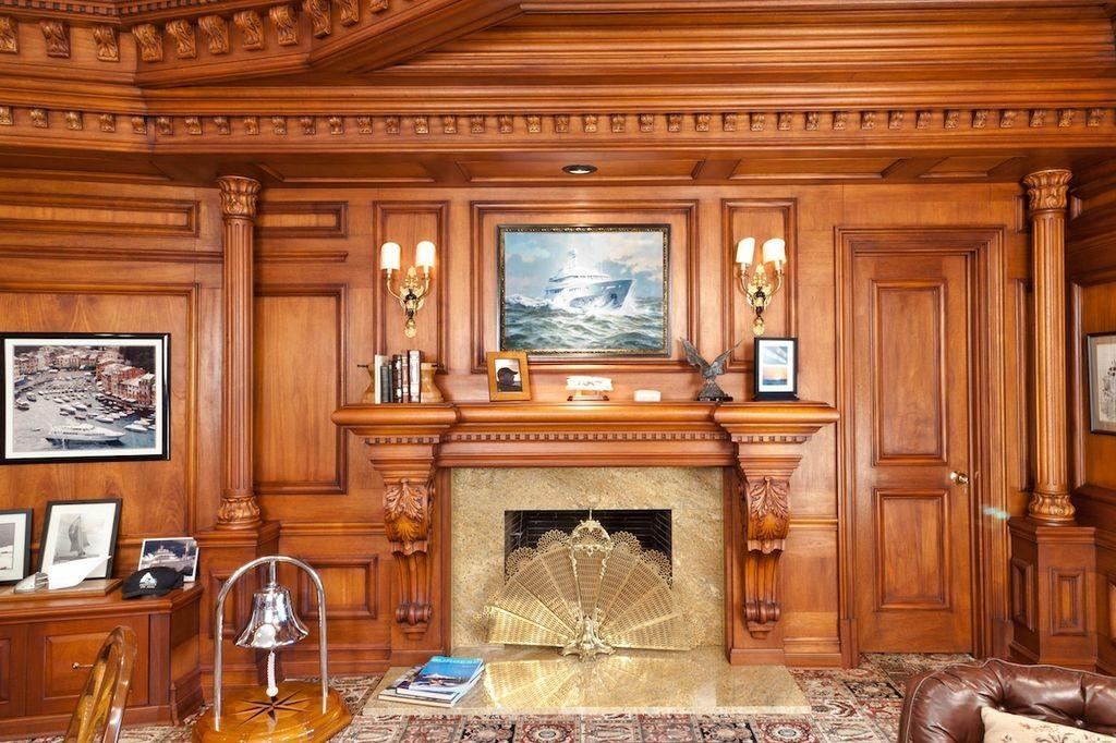 Traditional Home Office Wall Sconce Stone Fireplace