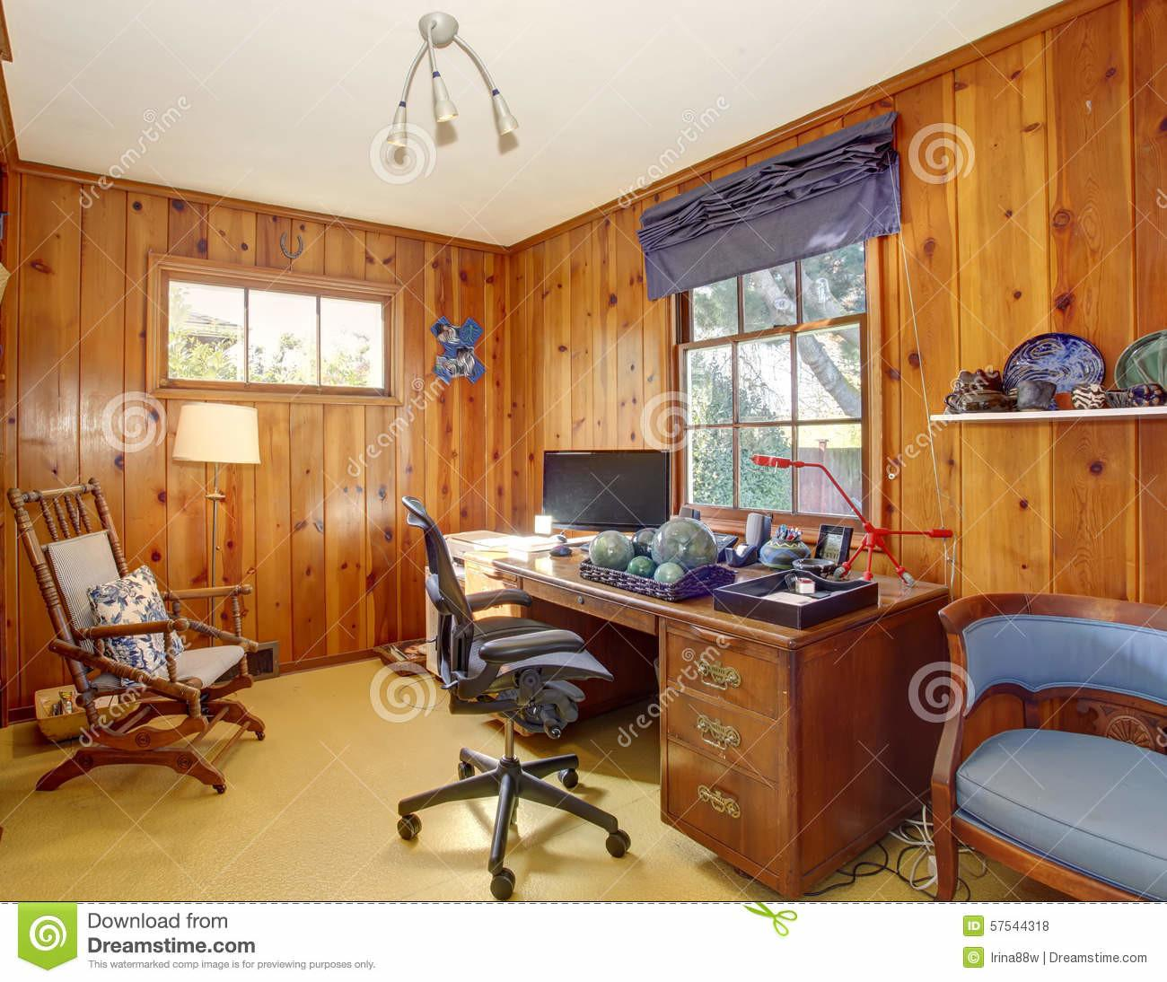 Traditional Home Office Wood Panel Walls Stock