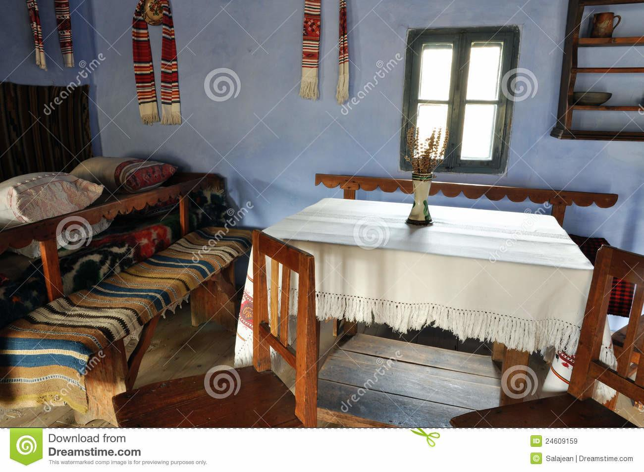 Traditional Romanian House Interior Royalty Stock