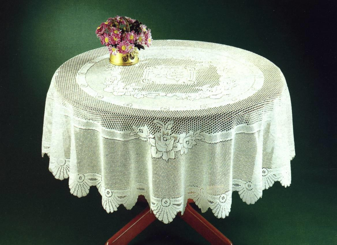 Traditional Rose Pattern Lace Tablecloth Round Oblong Oval