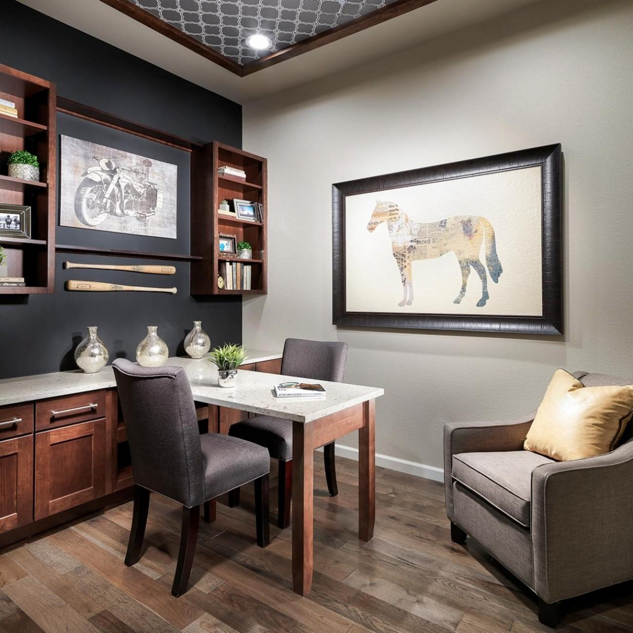 Transitional Small Home Office Gray Accent Wall