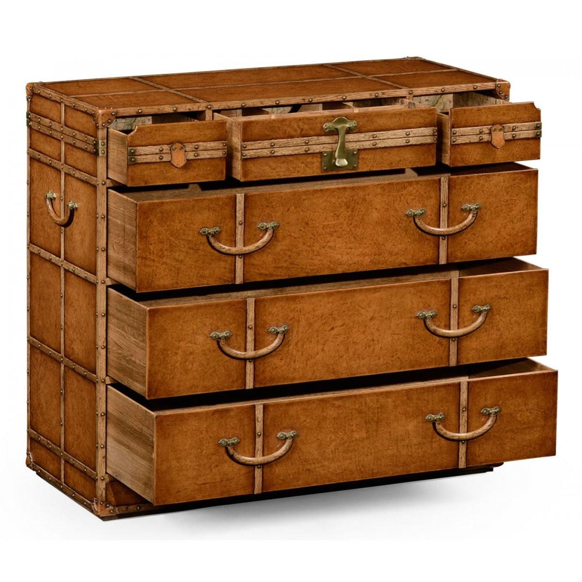 Travel Trunk Leather Chest Drawers Swanky Interiors
