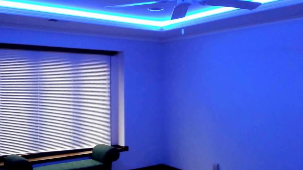 Tray Ceiling Led Multi Colored Lighting Behind Crown