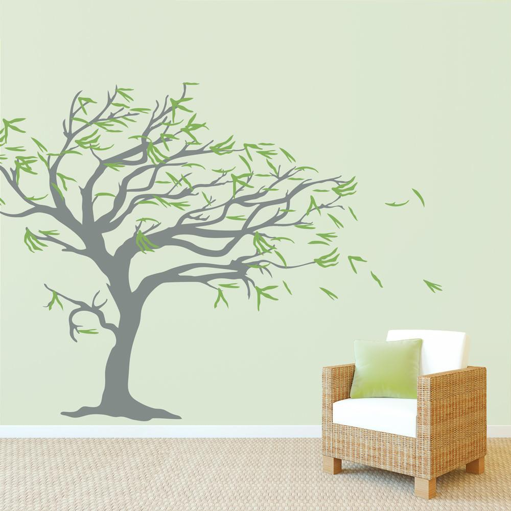 Tree Blowing Wind Wall Decal