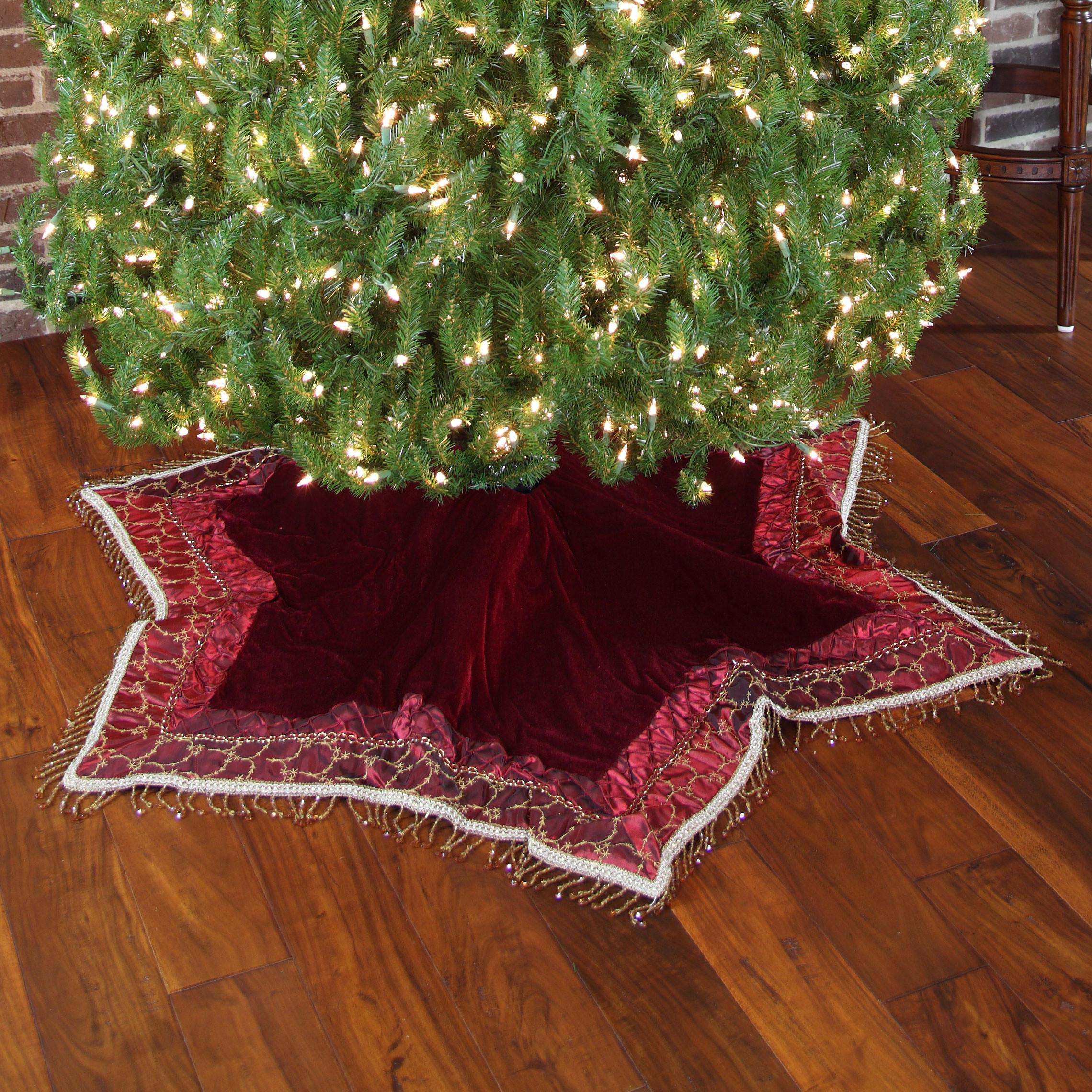 Tree Skirts Solid Burgundy Velvet Skirt