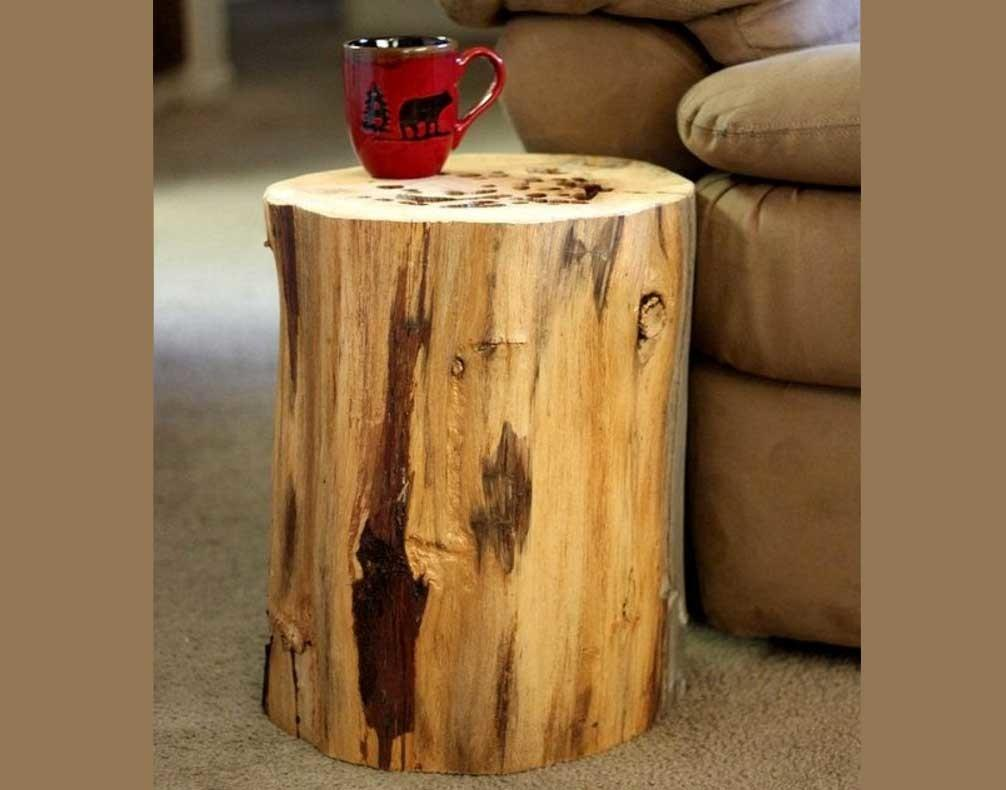 Tree Stump End Table Reclaimed Wood Home Interior Exterior