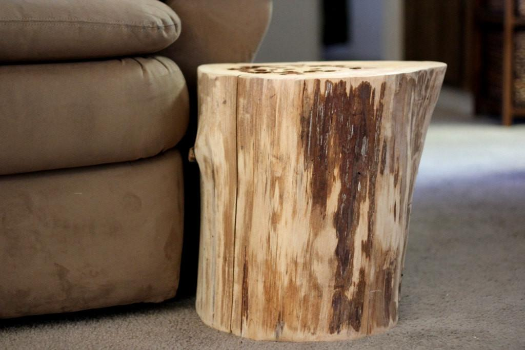 Tree Stump Table Reclaimed Wood Furniture Bessiescreations