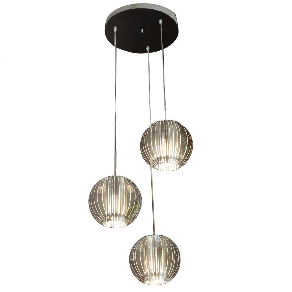 Trend Lighting Three Light Satin Silver Clear Acrylic