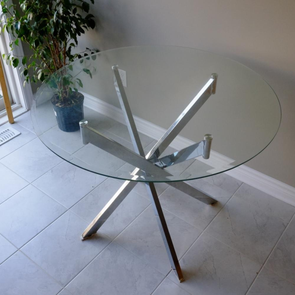 Trend Round Glass Coffee Table Floral Design