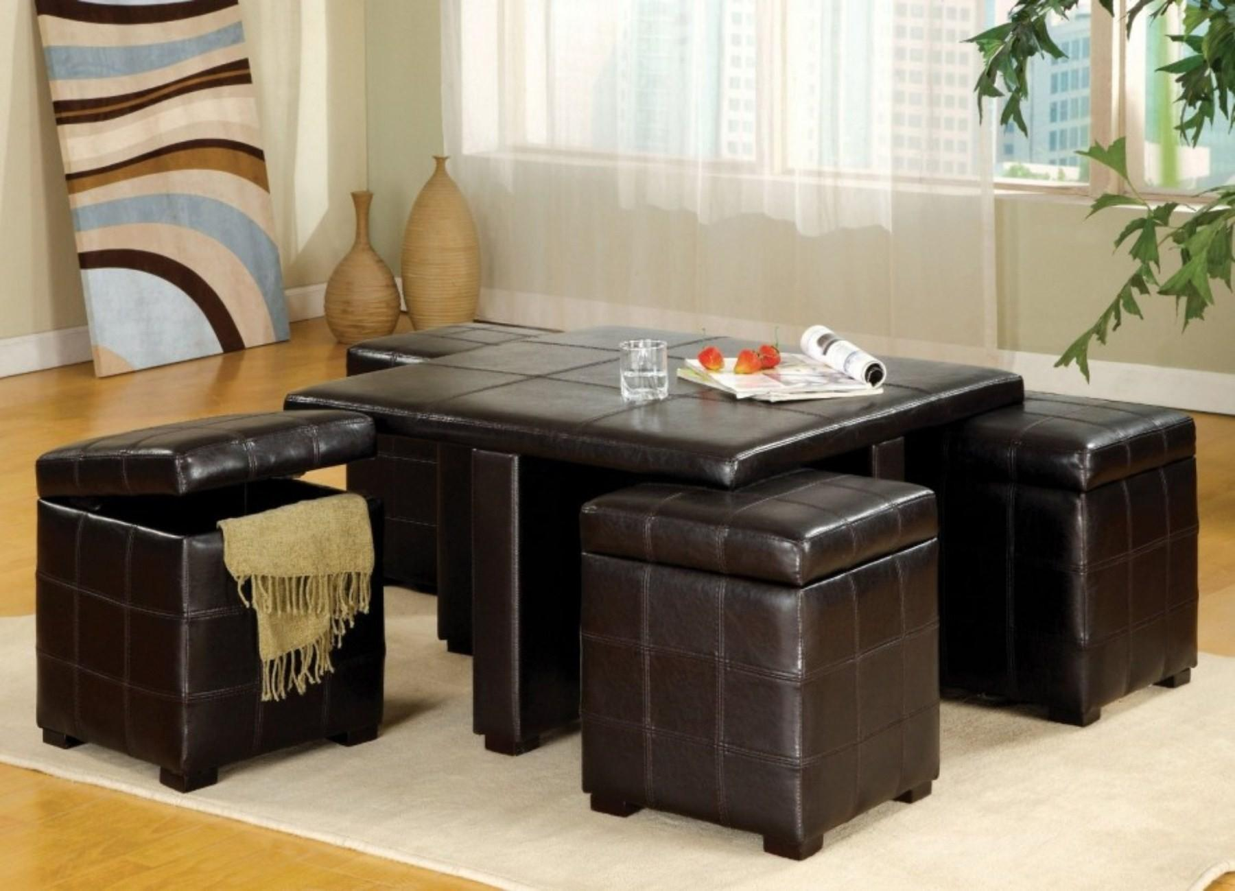 Trendy Coffee Tables Dark Brown Leather Stools Nytexas
