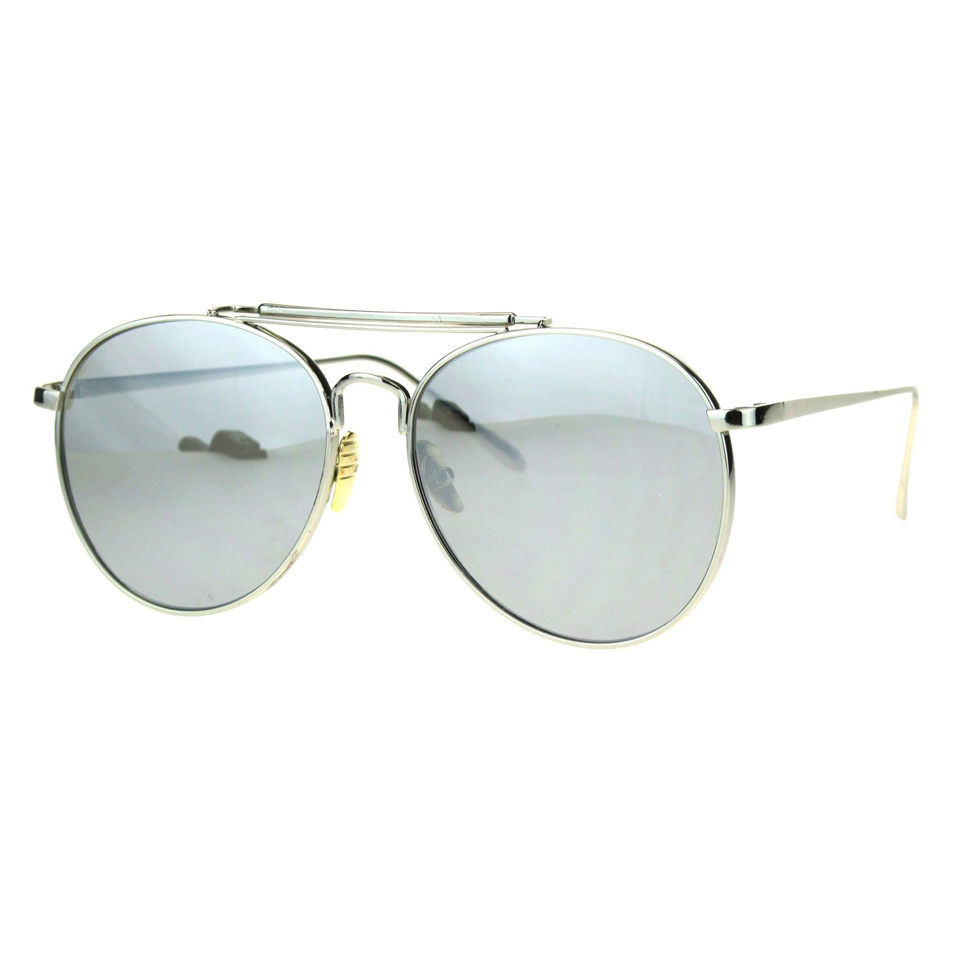 Trendy Flat Panel Color Mirror Lens Metal Frame Aviator