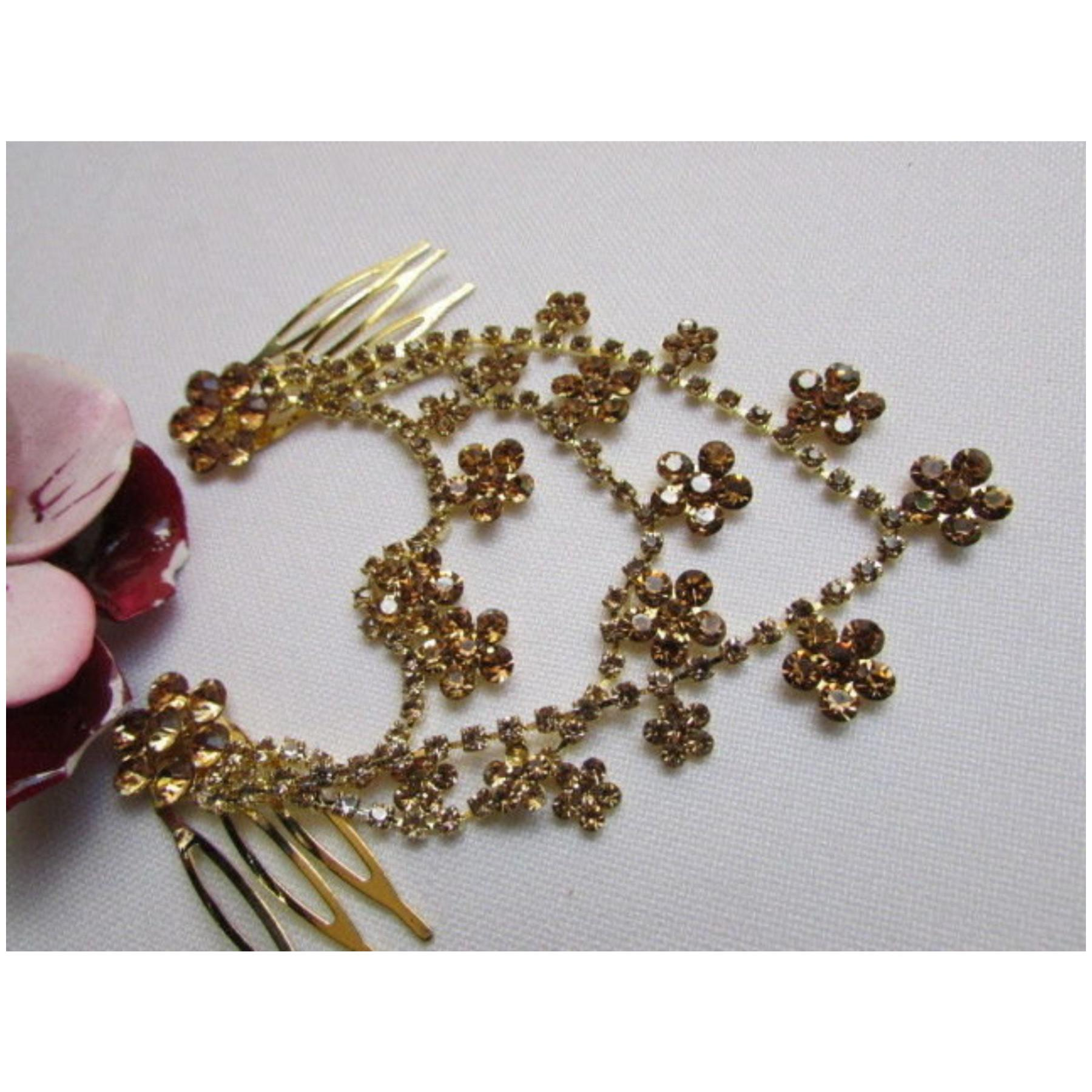 Trendy Gold Fashion Metal Head Multi Flowers Jewelry Hair