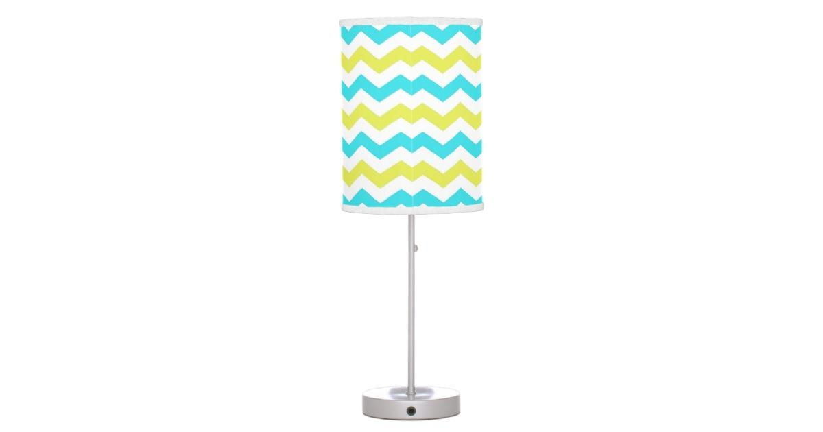 Trendy Modern Delightful Green Blue Chevron Table
