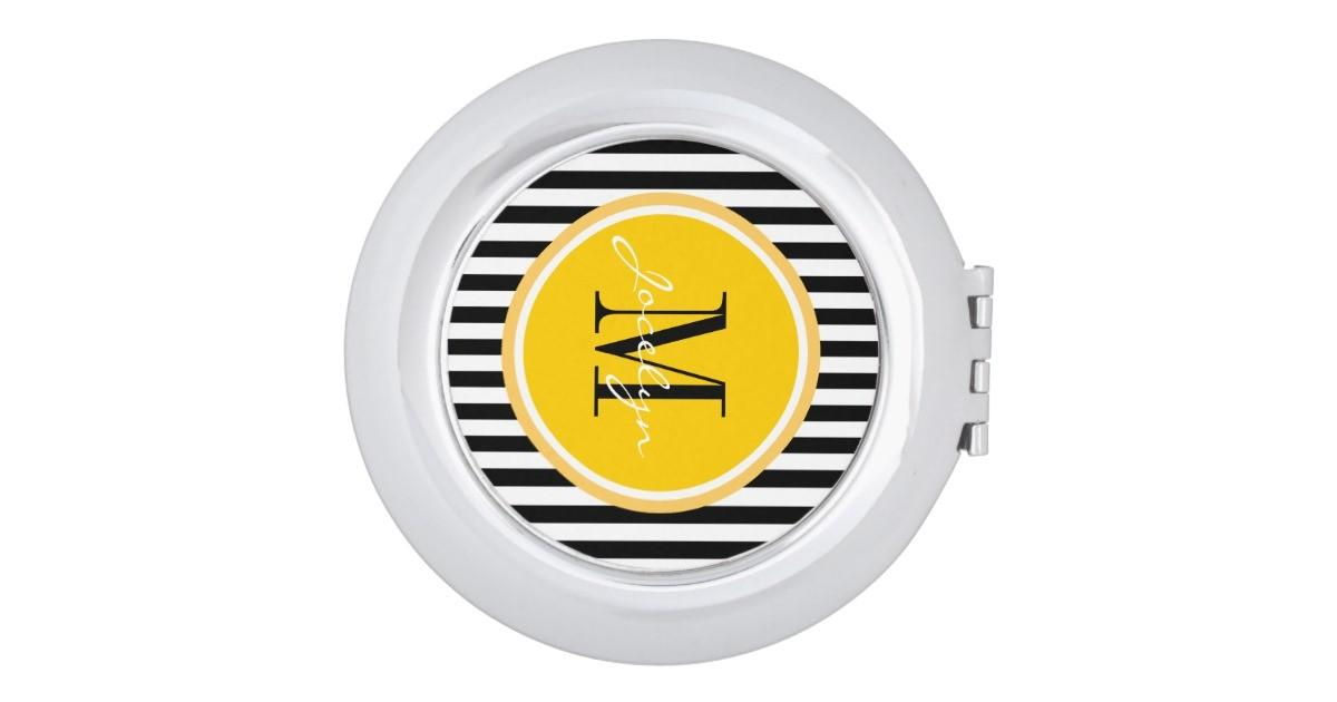 Trendy Stripes Personalized Compact Mirror Zazzle