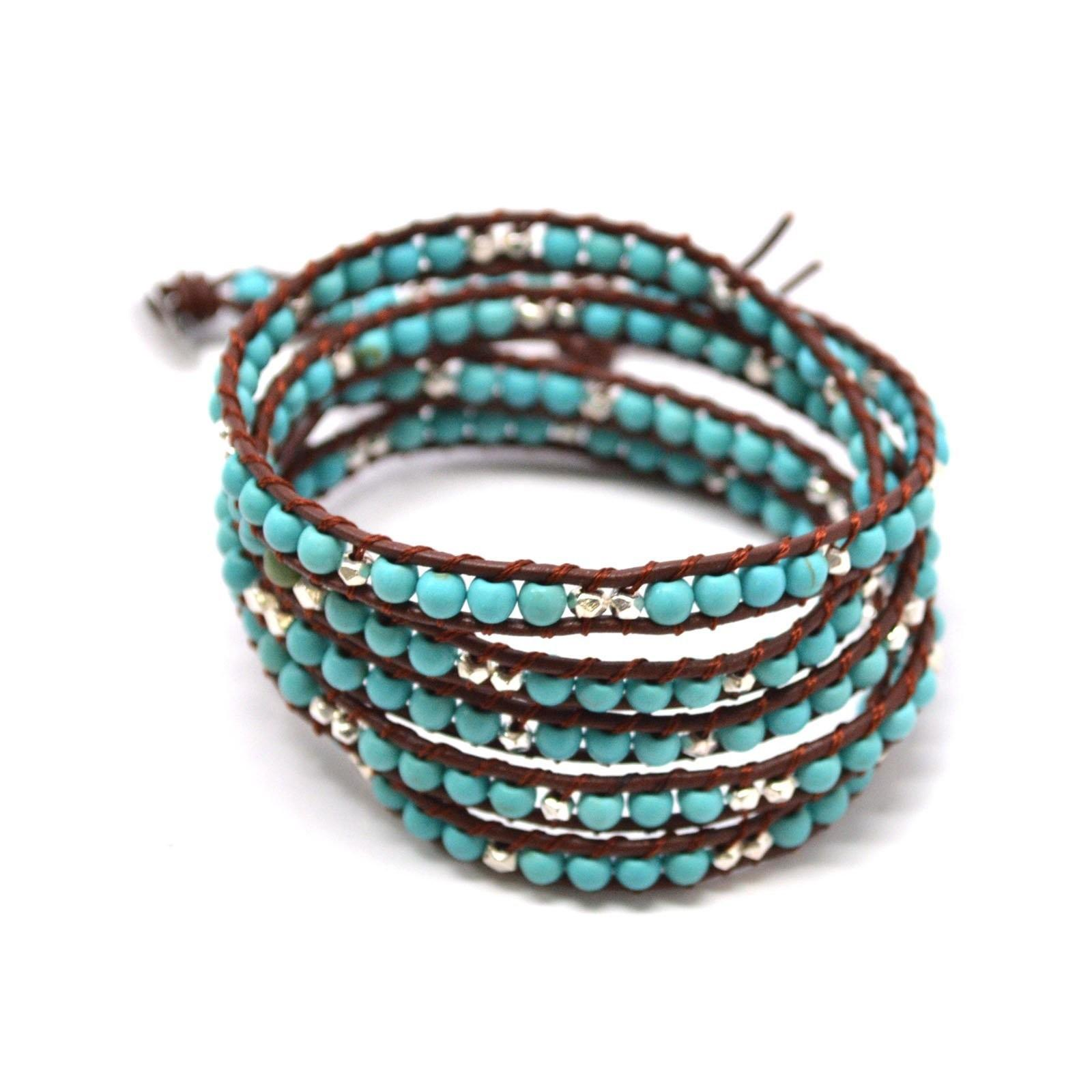 Trendy Turquoise Metallic Beaded Leather Wrap Bohemian
