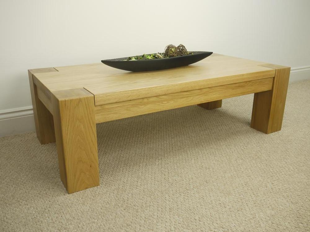 Trent 100 Solid Chunky Oak Wood Large Low Coffee Table