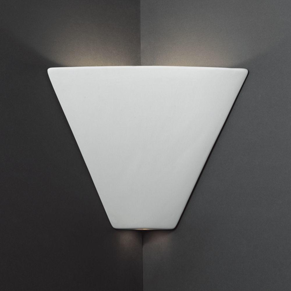Triangle Corner Sconce Wall Light Bisque Finish Cer