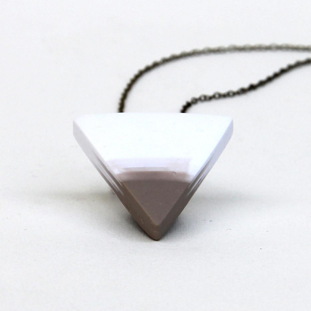 Triangle Necklace Neutral Tan White Minimal Pendant