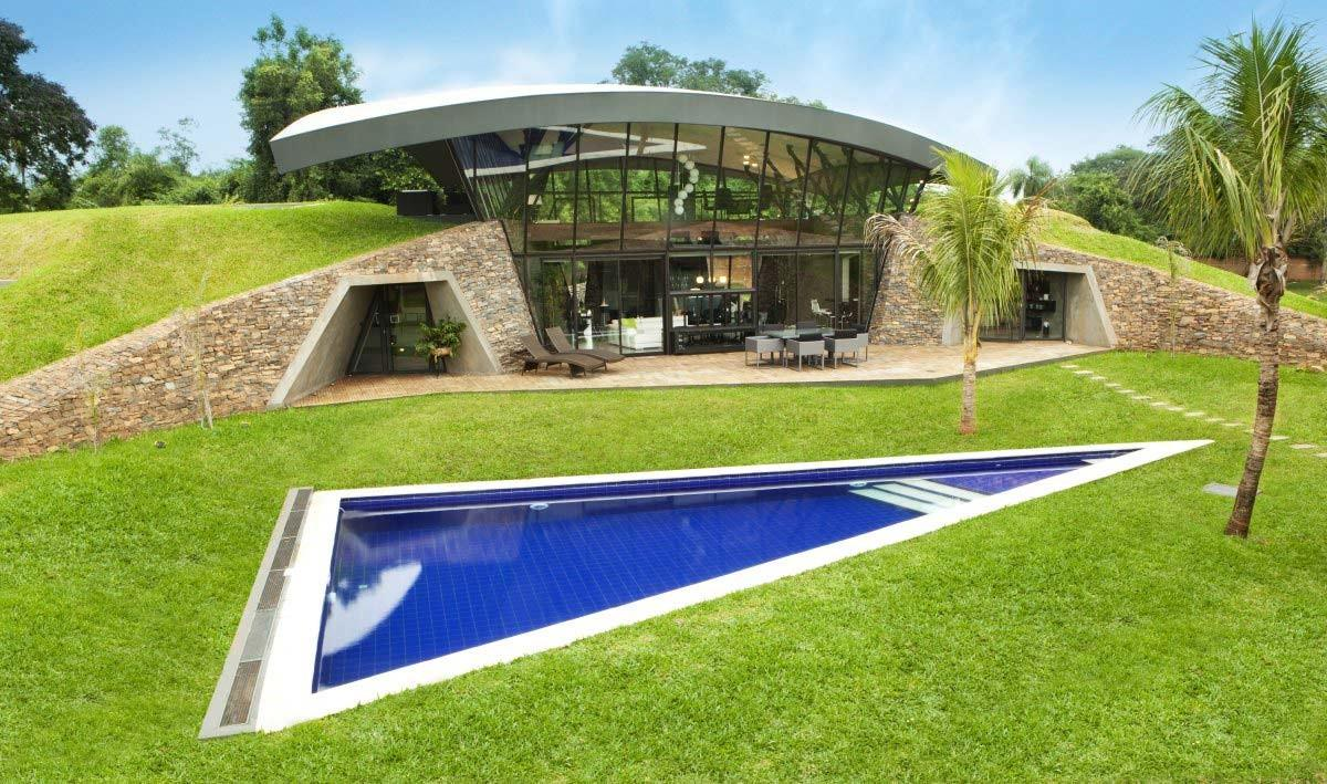 Triangular Outdoor Pool Two Homes Luque Paraguay