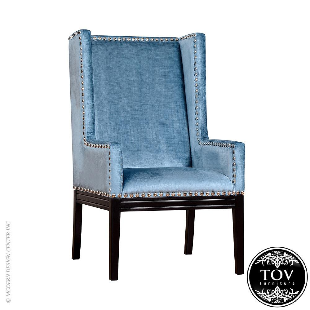 Tribeca Blue Velvet Chair Tov Furniture Metropolitandecor