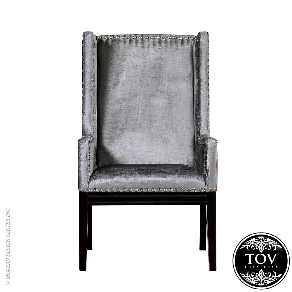Tribeca Grey Velvet Chair Tov Furniture Metropolitandecor