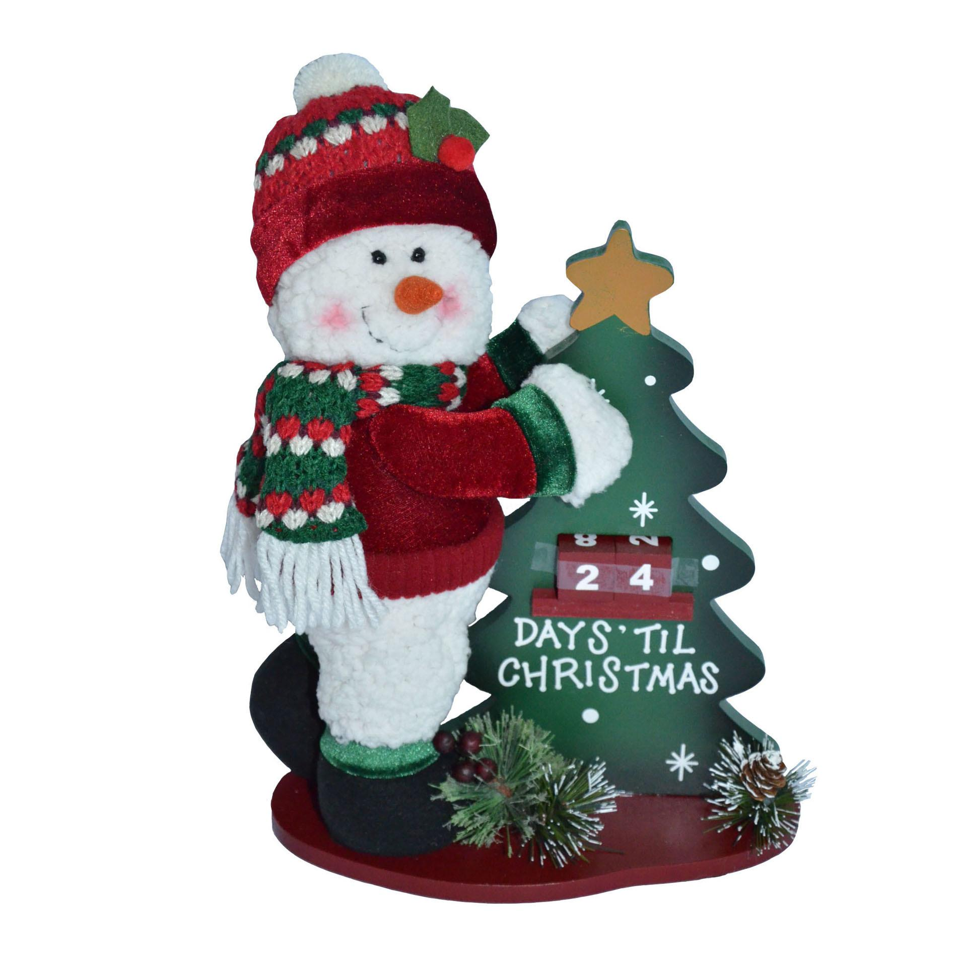 Trim Home Fabric Knit Hat Snowman Woodbase