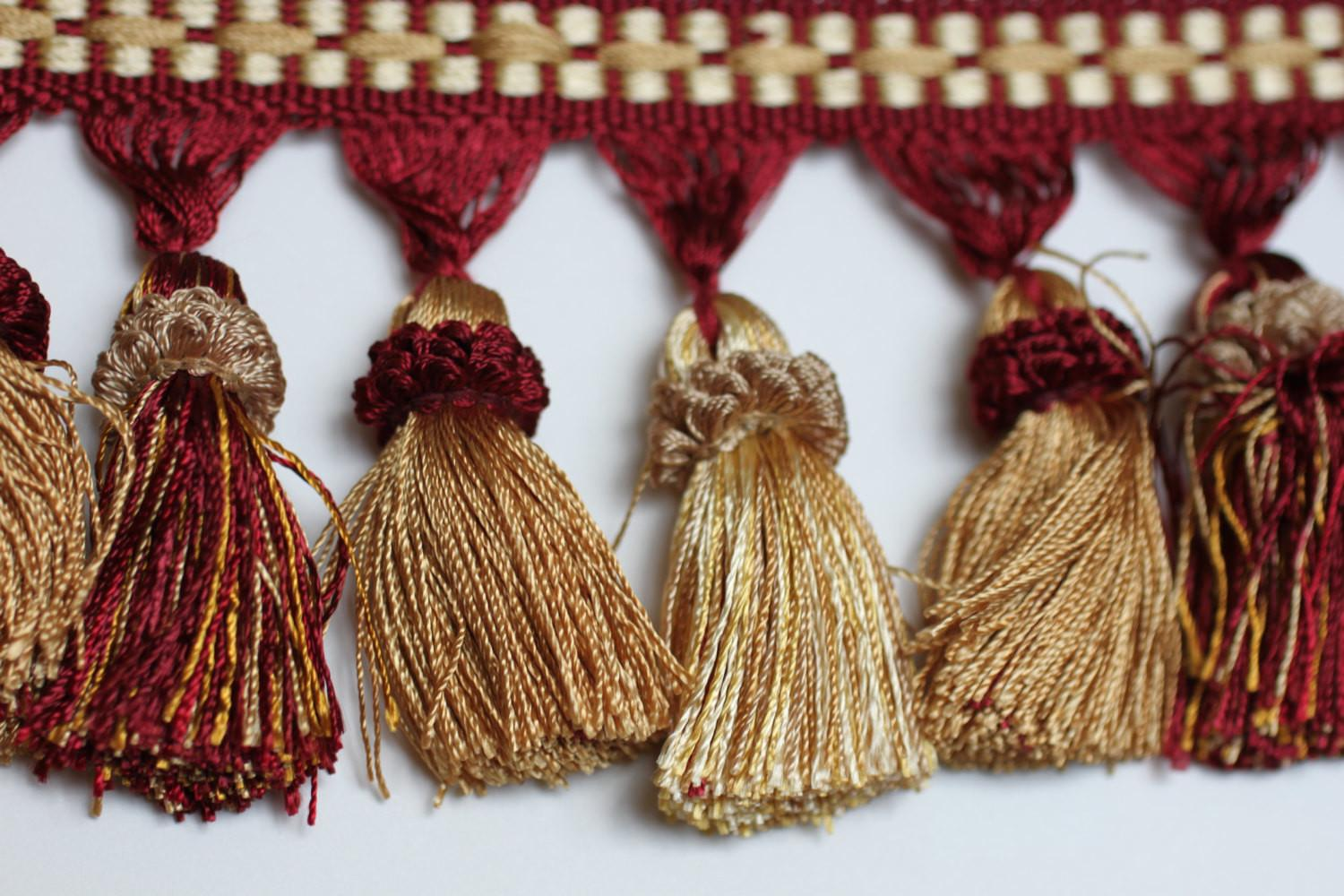 Trim Tassel Fringe Burg Gold Home Decor Tassels