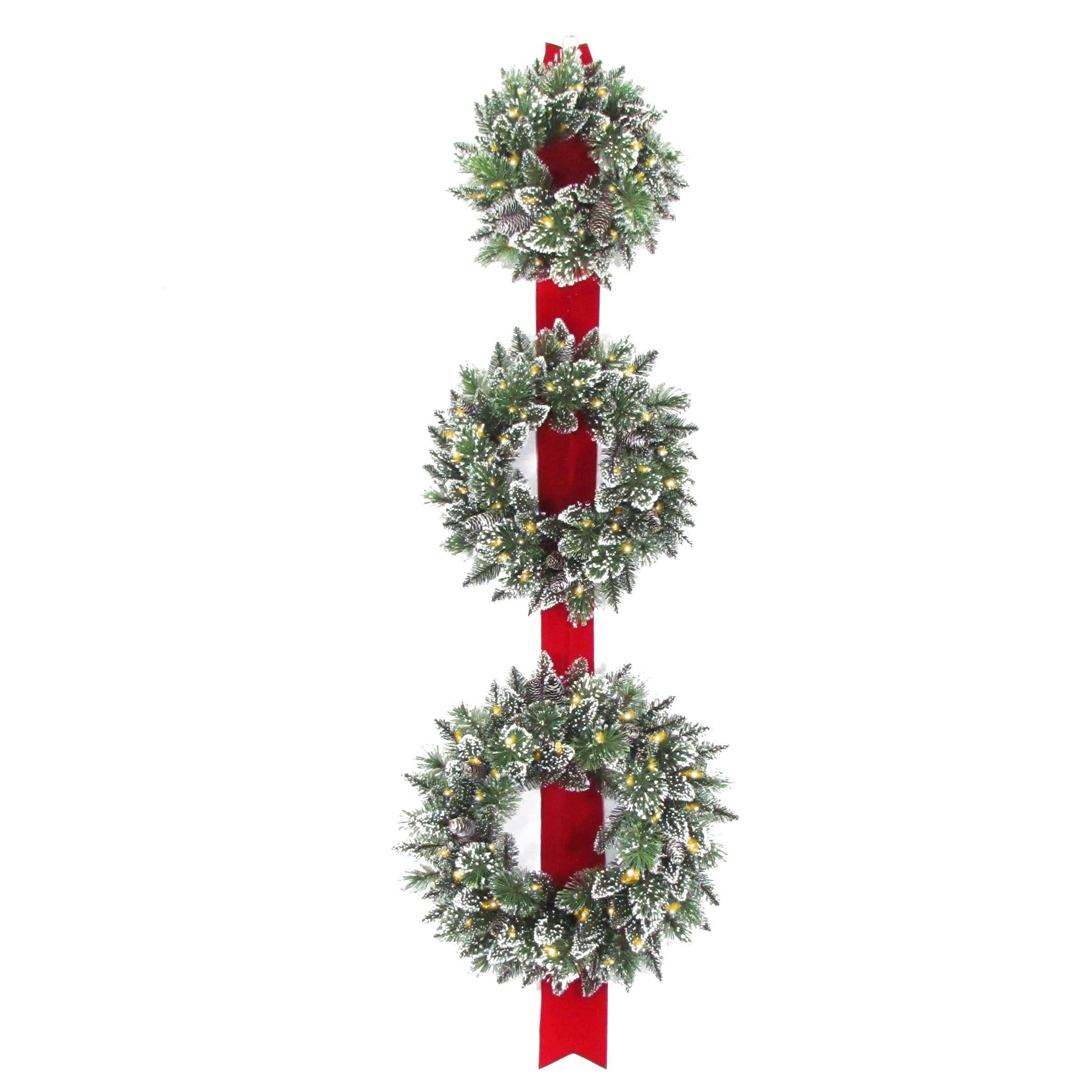 Trimming Traditions Triple Wreaths Red Ribbon Led