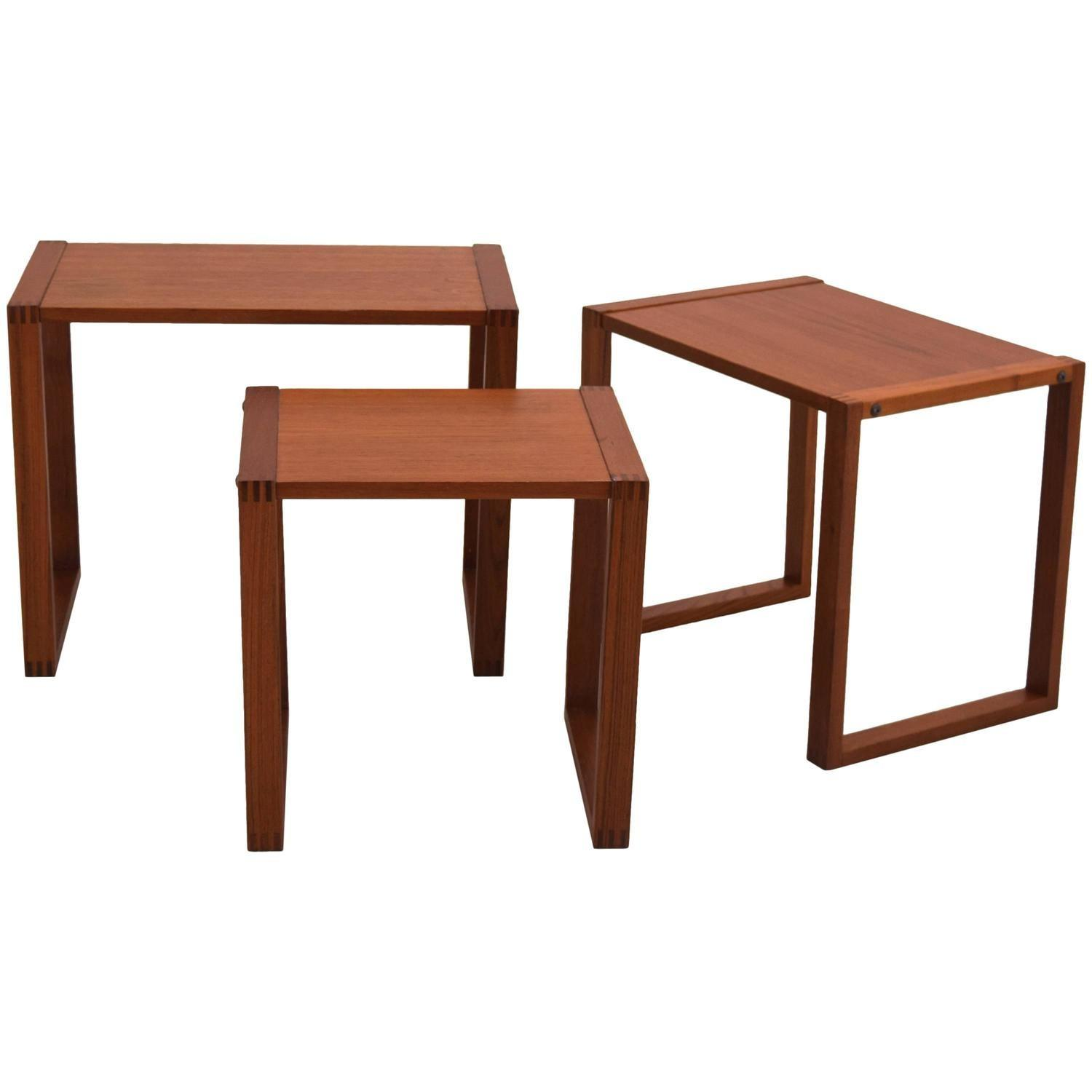 Trio Danish Teak Nesting Tables 1stdibs