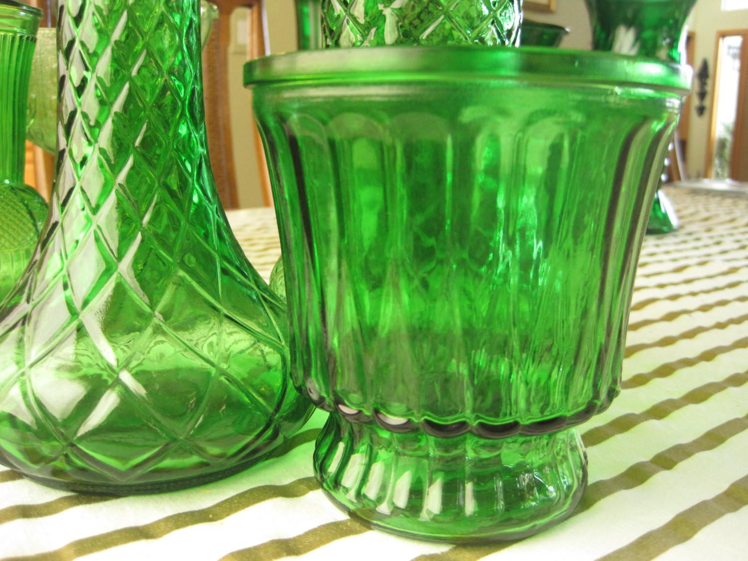 Trio Emerald Green Flower Vases Wedding Decor