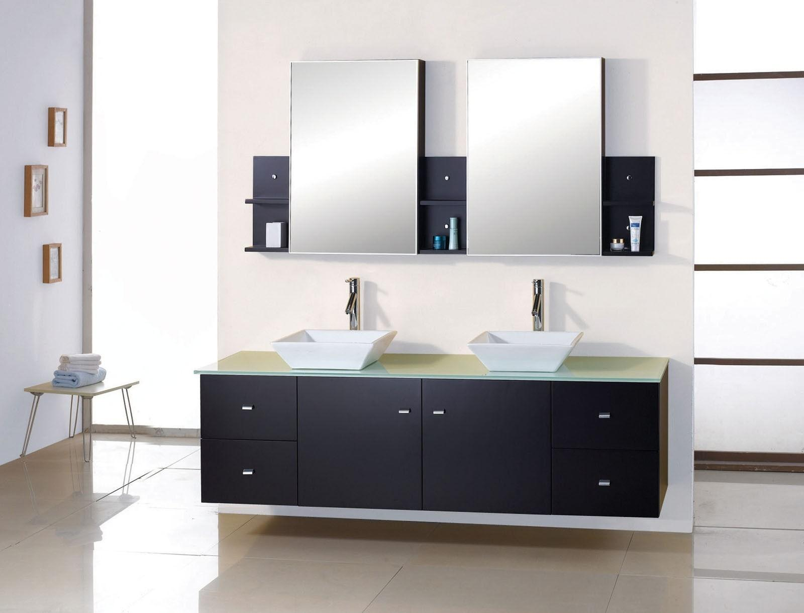 Triple Mirrors Also White Storage Connected Brown