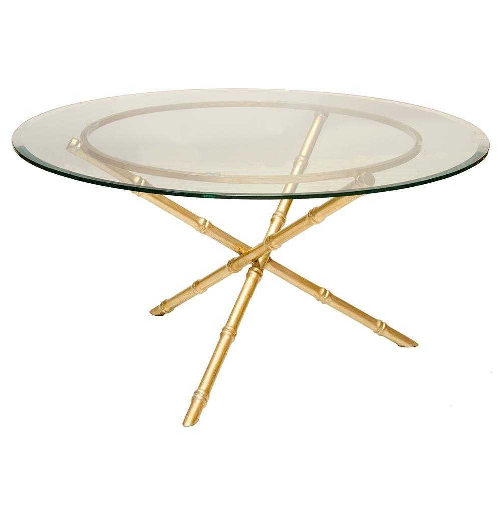 Tristanna Hollywood Regency Bamboo Gold Glass Coffee Table