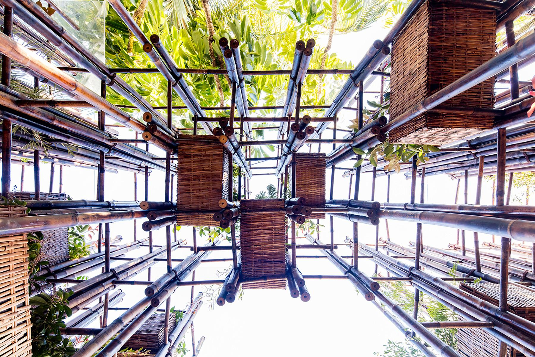 Trong Nghia Builds Green Ladder Pavilion Bamboo