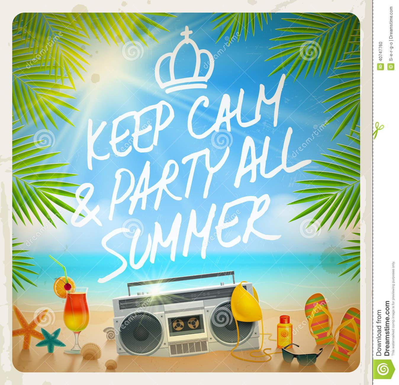 Tropical Beach Summer Party Stock Vector Illustration