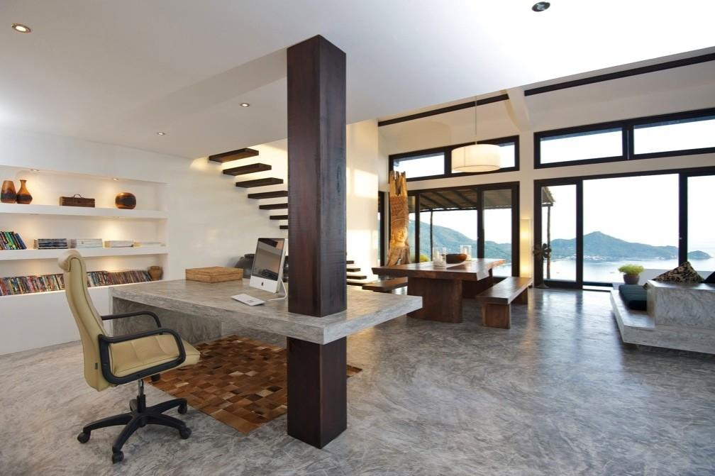 Tropical Beach Villa Dark Wood Framed Open Plan Living