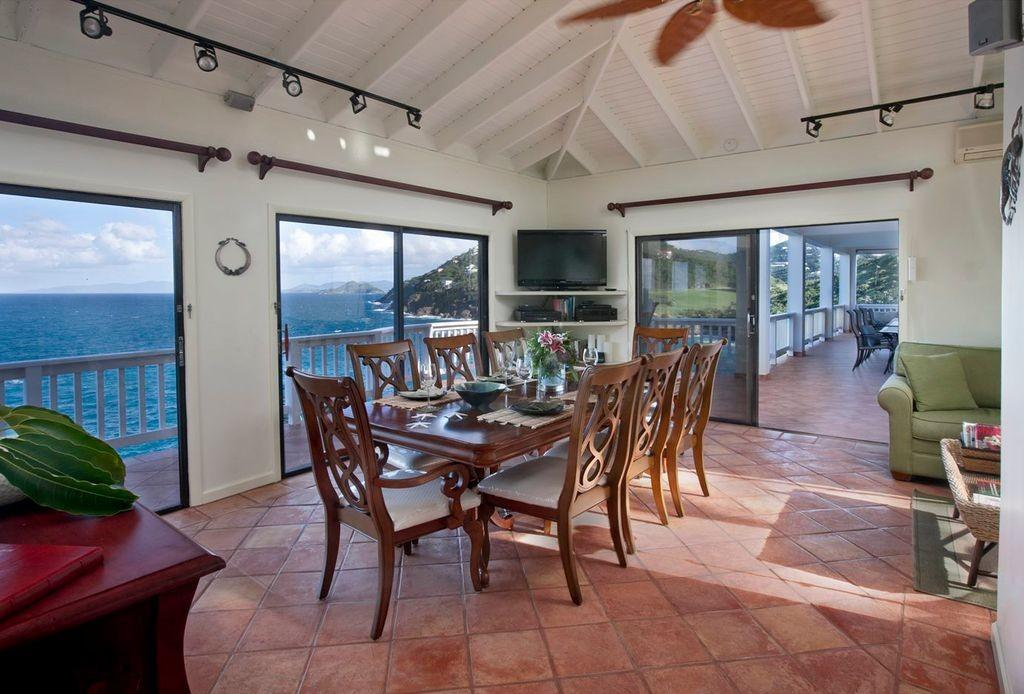 Tropical Dining Room Exposed Beam Ceiling Fan