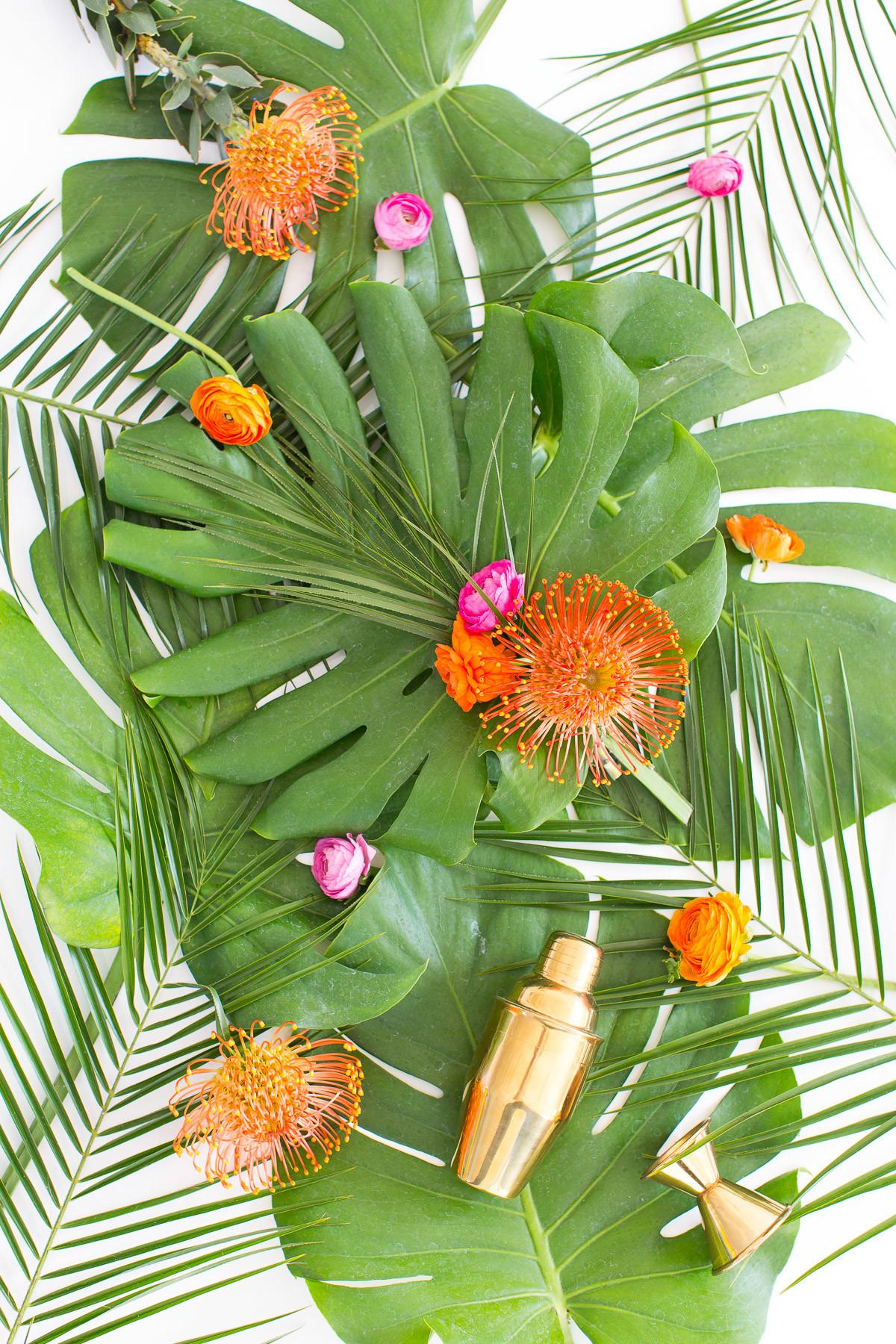 Tropical Diy Floral Bar Cart Swag Our Event