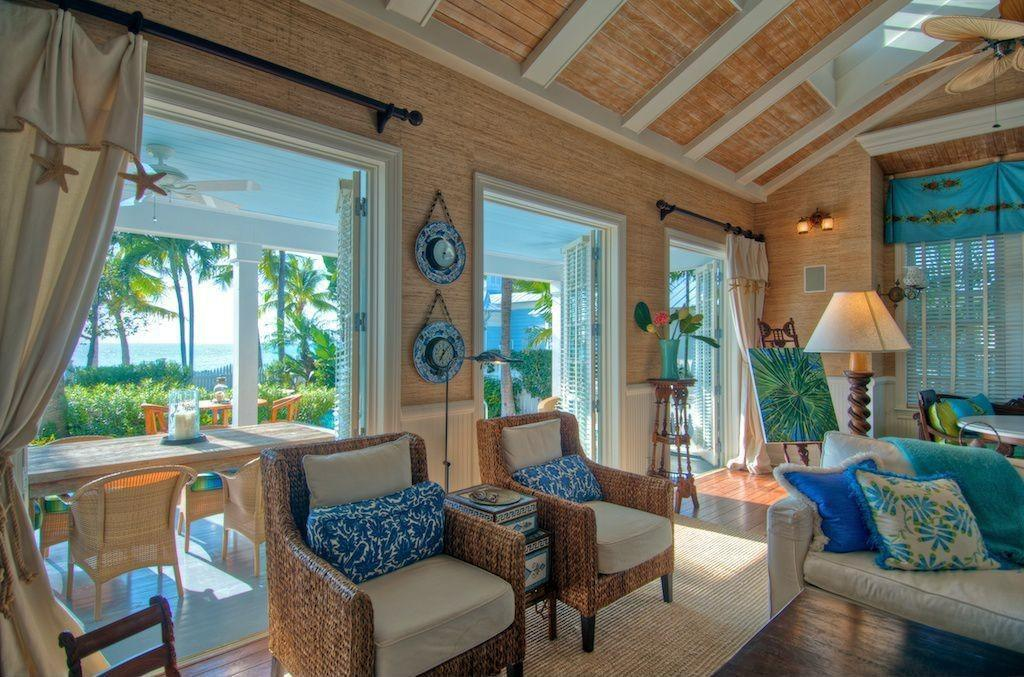 Tropical Living Room Ceiling Fan Wainscoting Key
