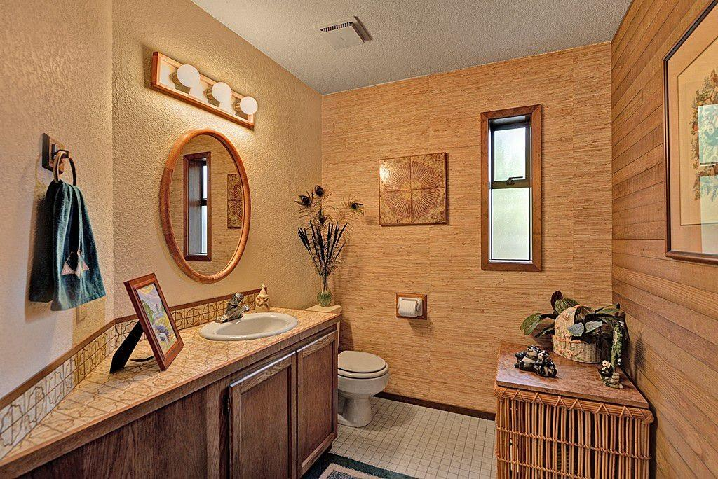 Tropical Powder Room Flat Panel Cabinets Mexican