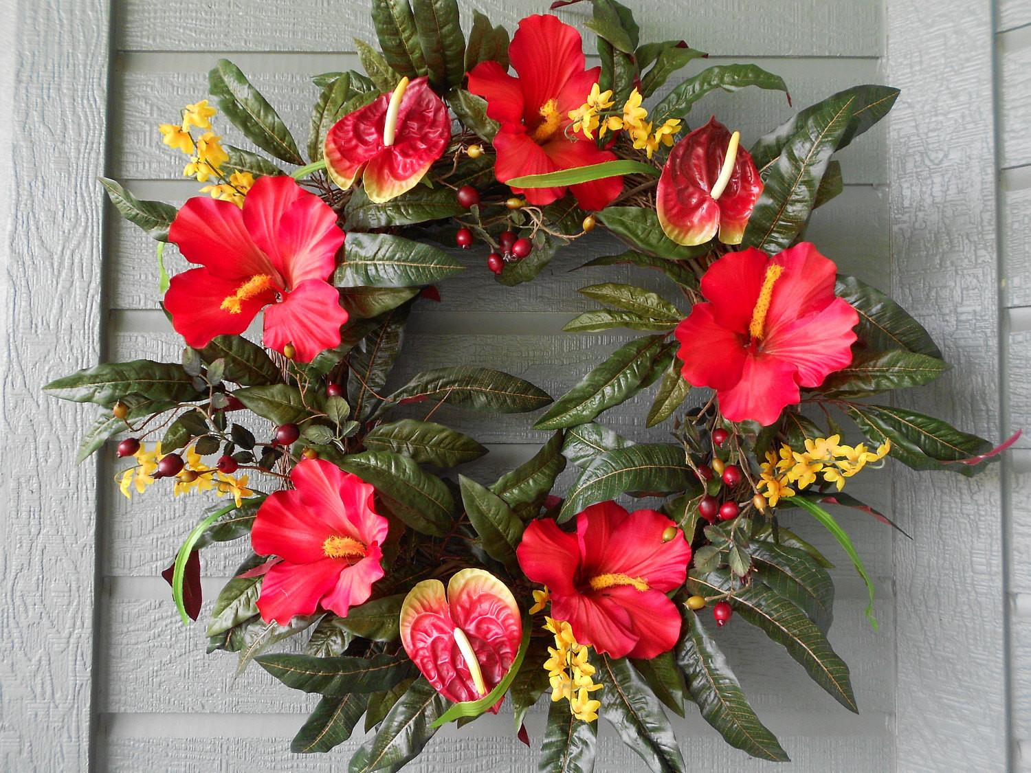 Tropical Wreath Bright Red Hibiscus