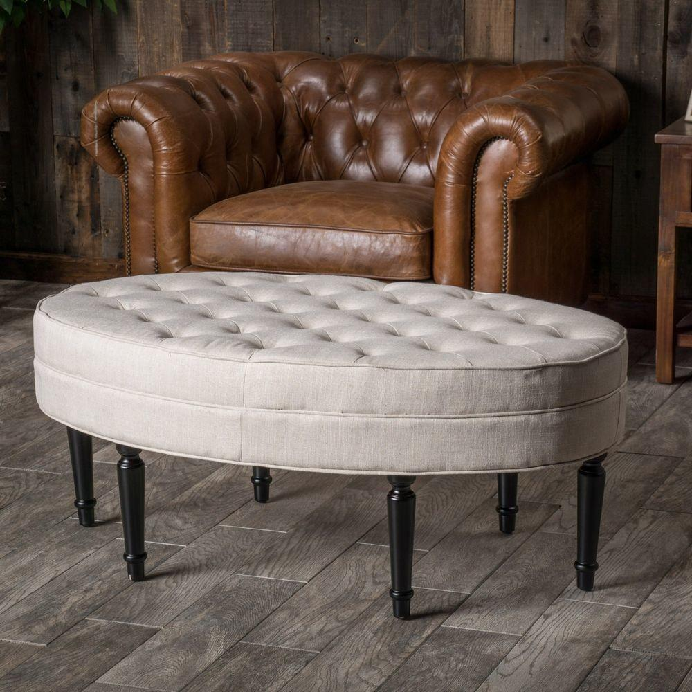 Tufted Top Linen Upholstered Oval Ottoman Coffee Table
