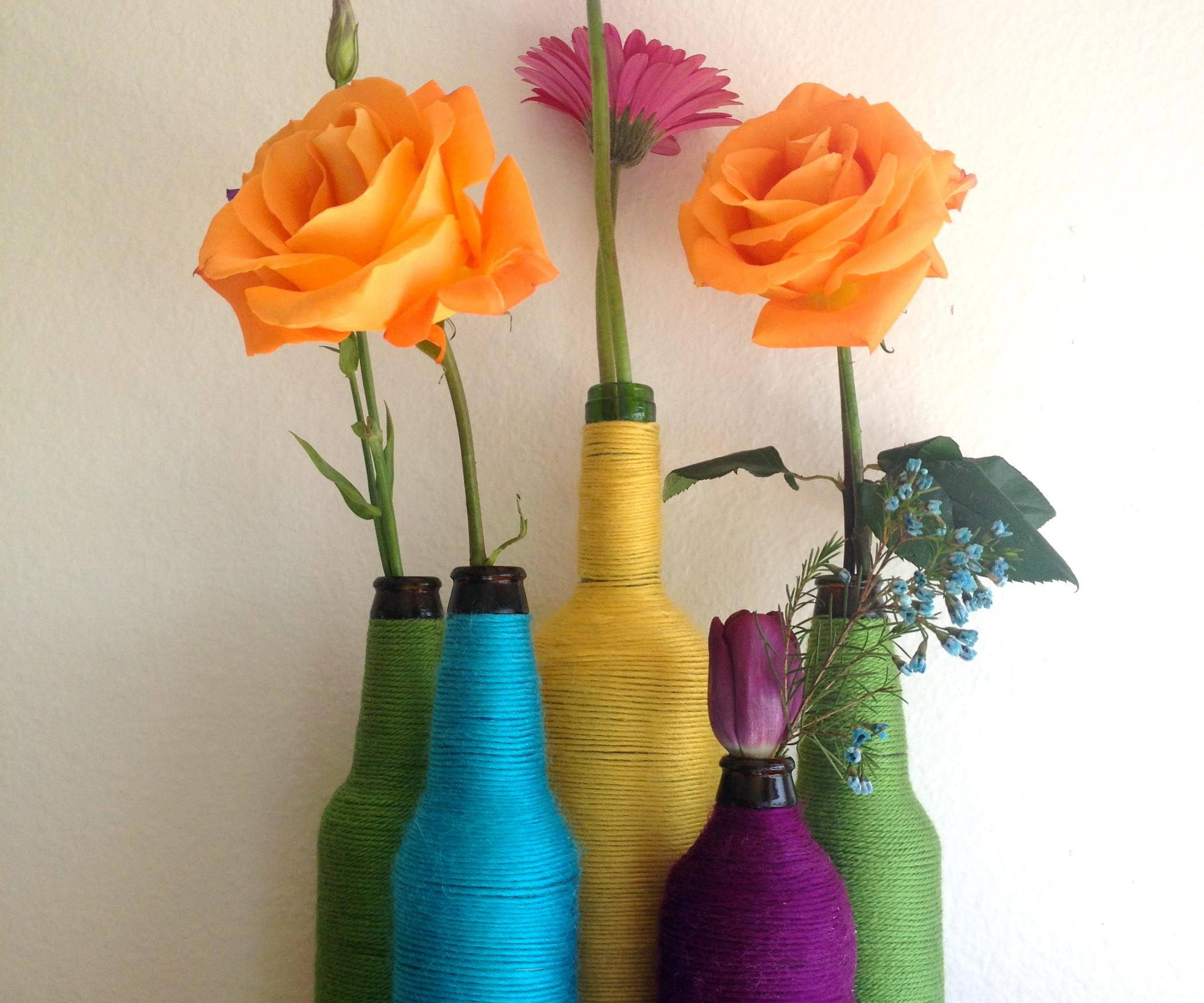 Turn Beer Bottle Into Colorful Flower Vase